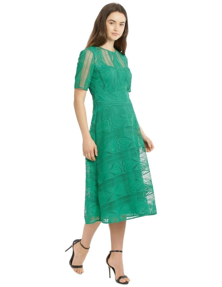 Embroidered Lace Contrast Midi Dress image 2
