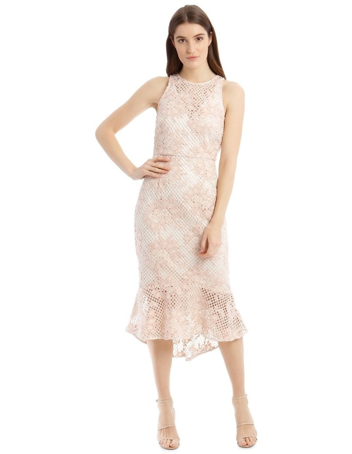 High Low Contrast Dress with Ruffle image 1
