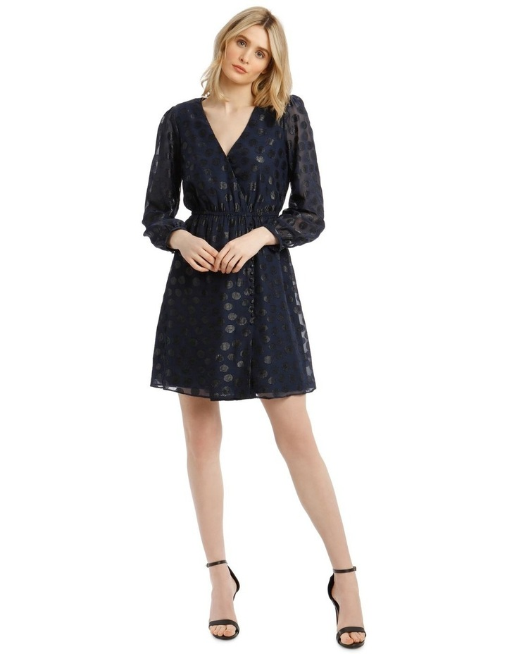 Buttoned Shoulder Pad Dress with 3/4 Sleeve image 1
