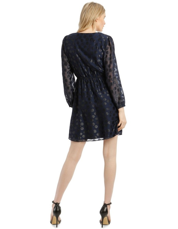 Buttoned Shoulder Pad Dress with 3/4 Sleeve image 3