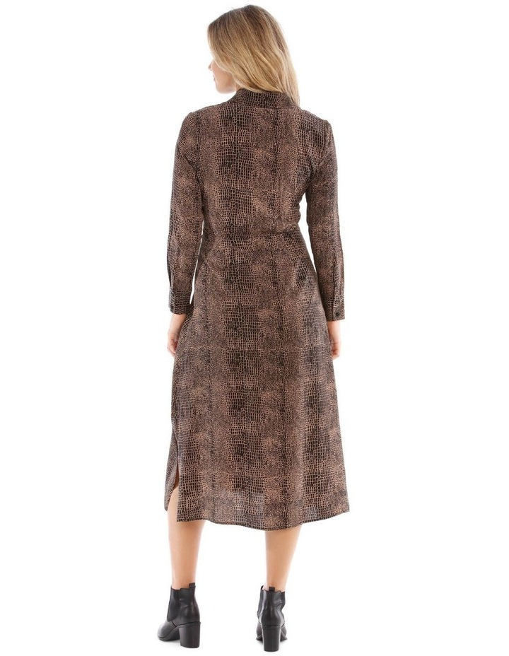 Midi Print Shirt Dress With Tie image 3
