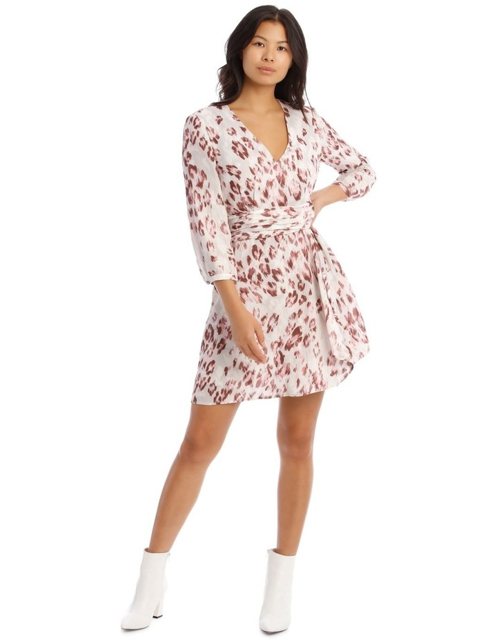Draped Waist Multi Print Lined Digital Dress image 1