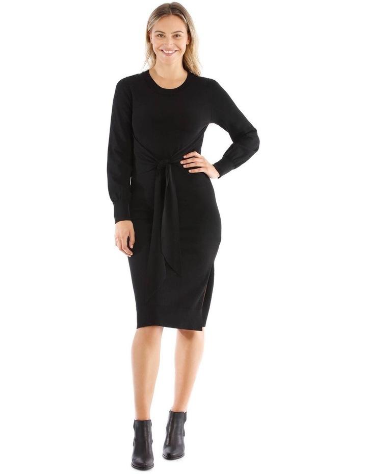 Black Knit Tie Waist Dress image 1