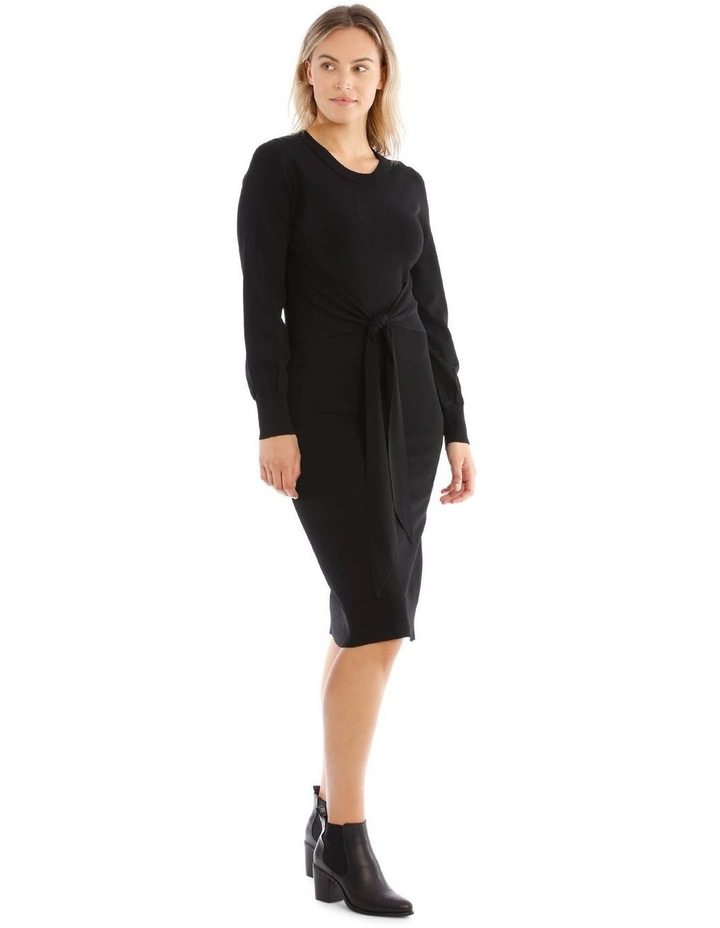 Black Knit Tie Waist Dress image 2