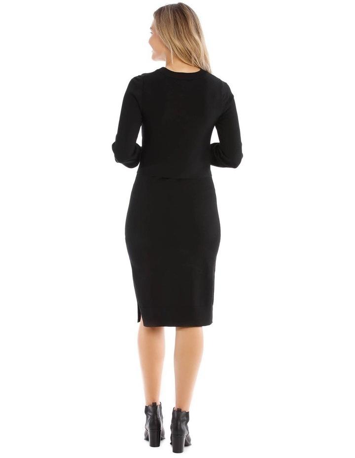 Black Knit Tie Waist Dress image 3