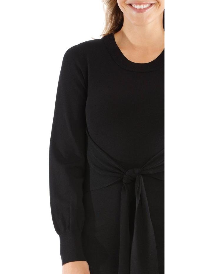 Black Knit Tie Waist Dress image 4