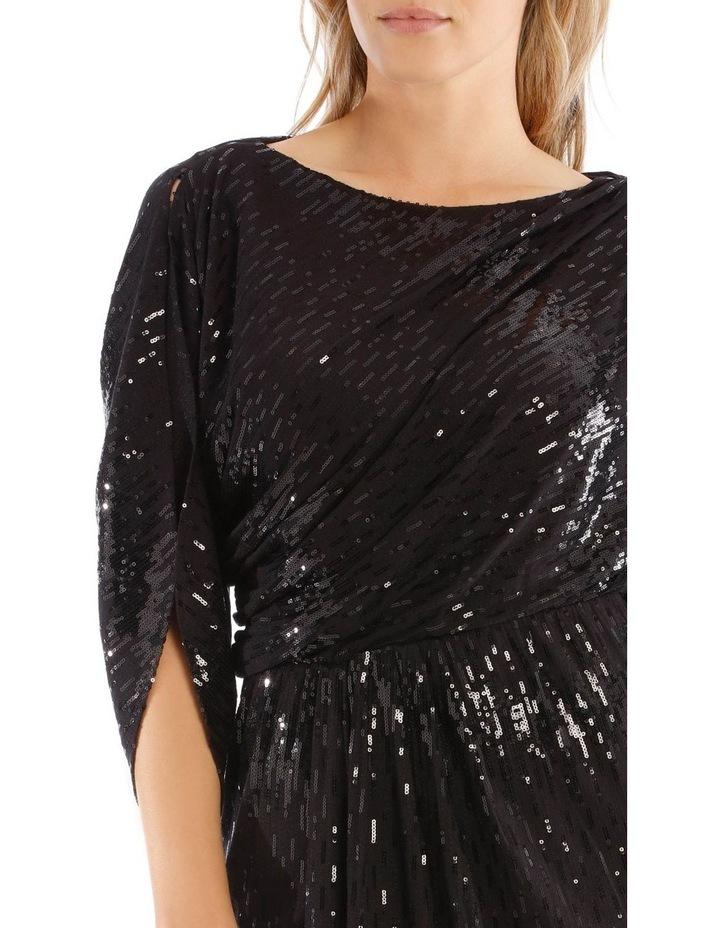 Black Batwing Sequin Twist Dress image 4