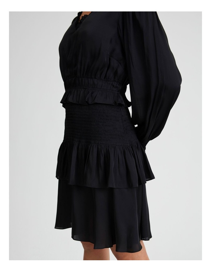 Long Sleeve Bruised Poly Tiered Dress image 4
