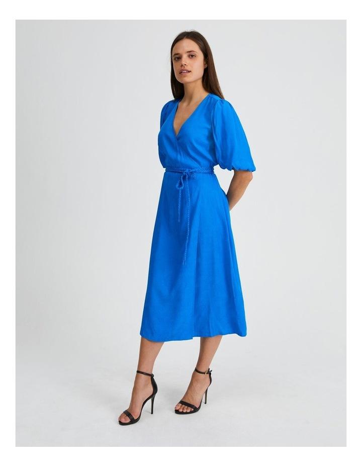 Animal Jacquard Wrap Dress in Blue image 2