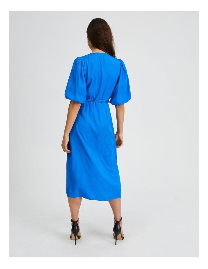 Animal Jacquard Wrap Dress in Blue image 3