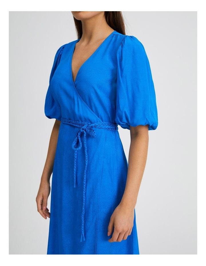 Animal Jacquard Wrap Dress in Blue image 4