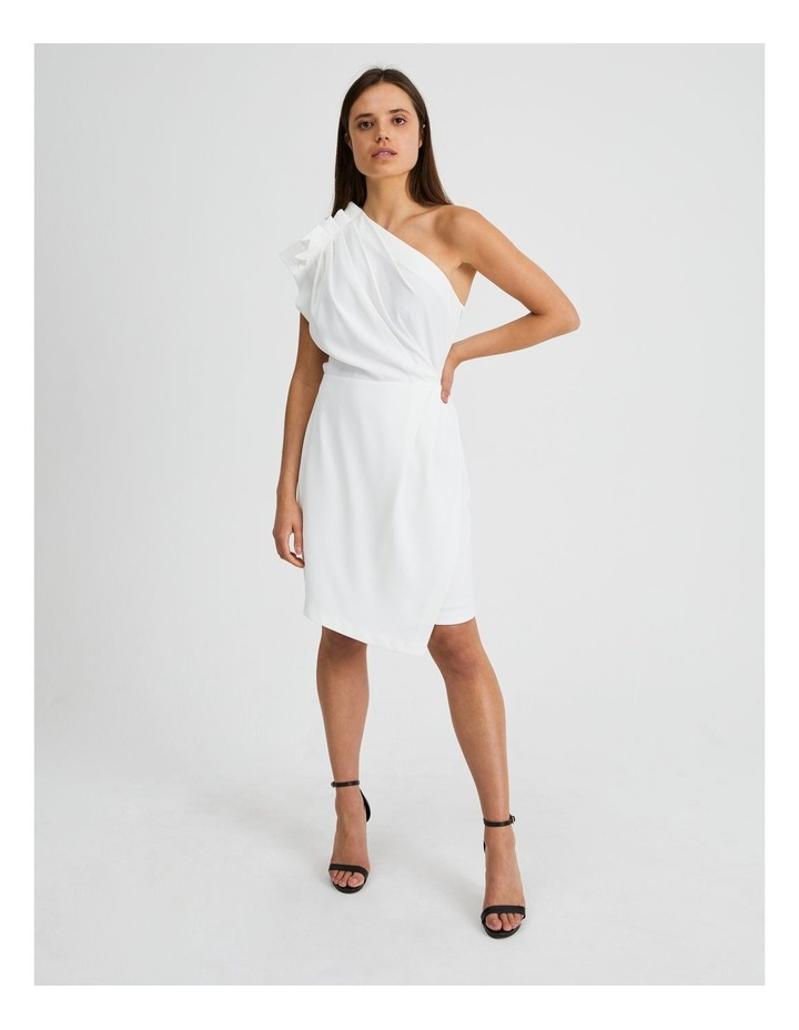 One Shoulder Ruffle Dress in White image 1