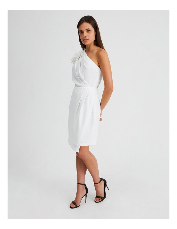 One Shoulder Ruffle Dress in White image 2