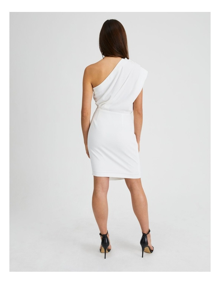 One Shoulder Ruffle Dress in White image 3