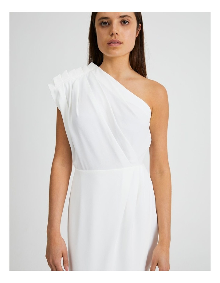 One Shoulder Ruffle Dress in White image 4
