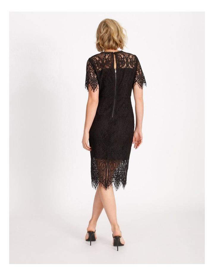 Lace Midi Dress Black image 3