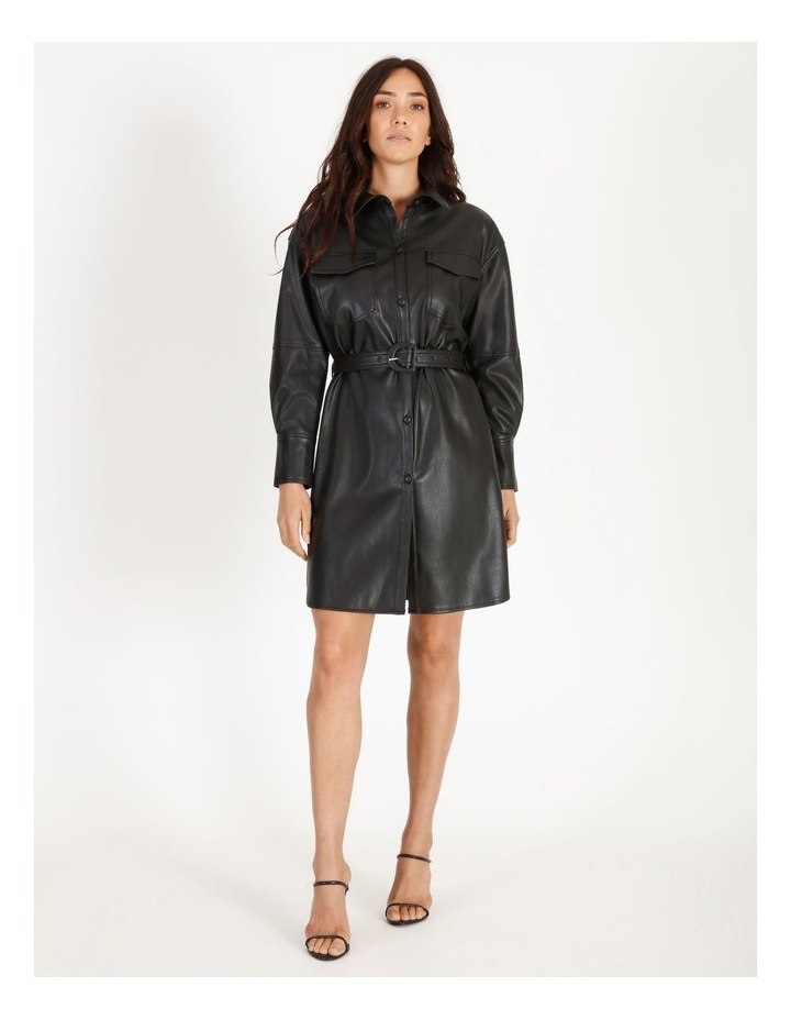 Faux Leather Belted Shirt Dress image 1