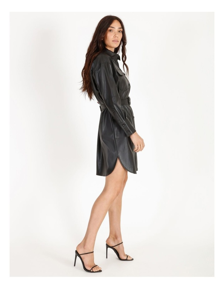 Faux Leather Belted Shirt Dress image 2