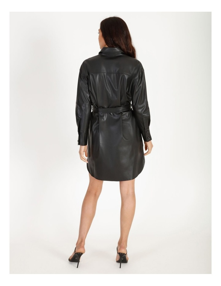 Faux Leather Belted Shirt Dress image 3