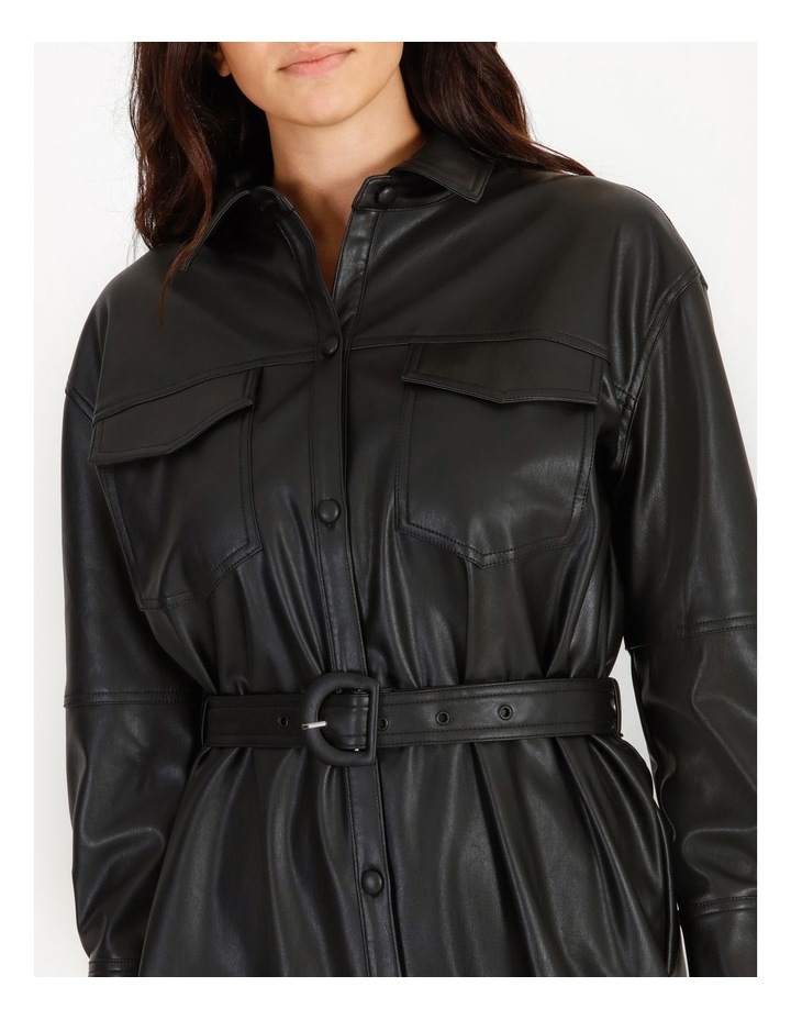 Faux Leather Belted Shirt Dress image 4