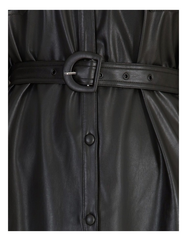 Faux Leather Belted Shirt Dress image 6