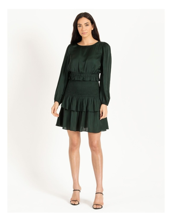 Bruised Poly Tiered Long Sleeve Mini Dress image 1