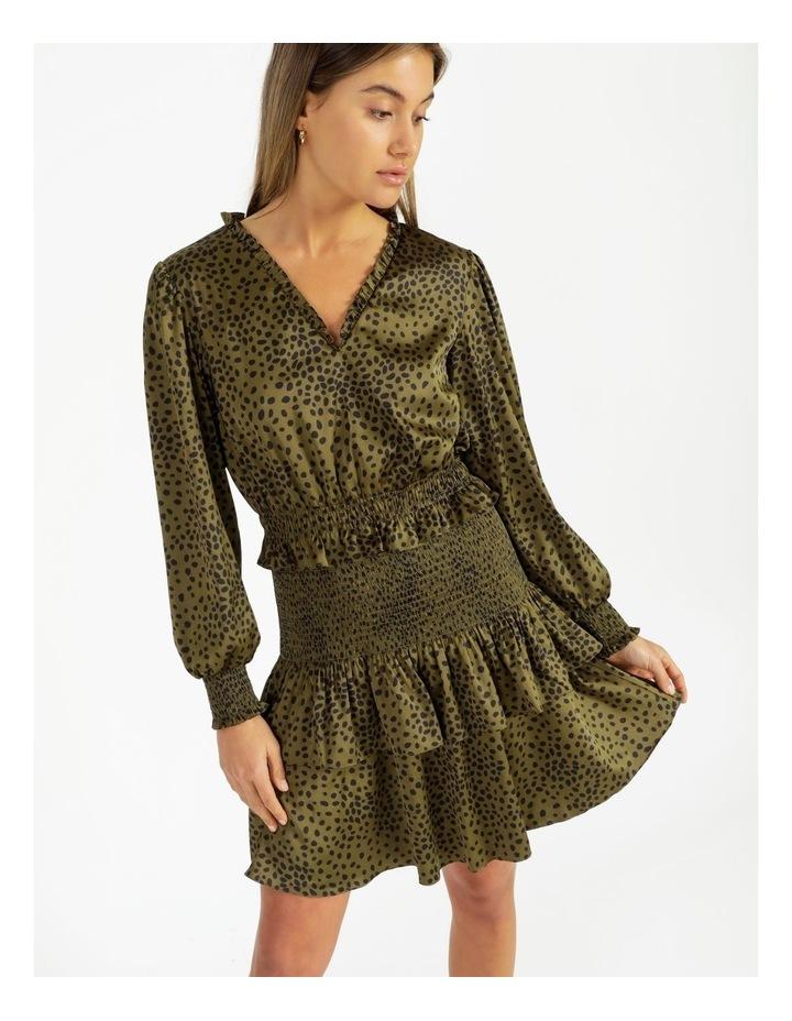 Bruised Poly Tiered Long Sleeve Dress Khaki Spot/Khaki image 2