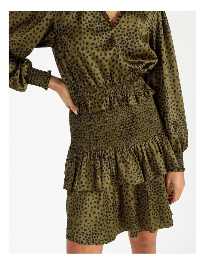 Bruised Poly Tiered Long Sleeve Dress Khaki Spot/Khaki image 5