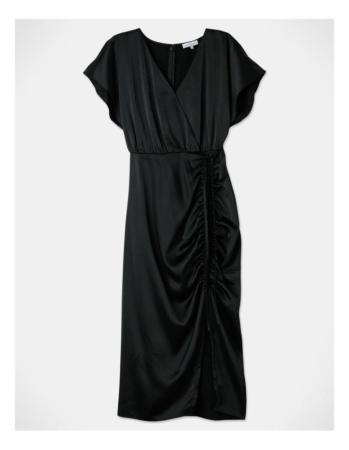 Ruched Midi Dress Black image 1