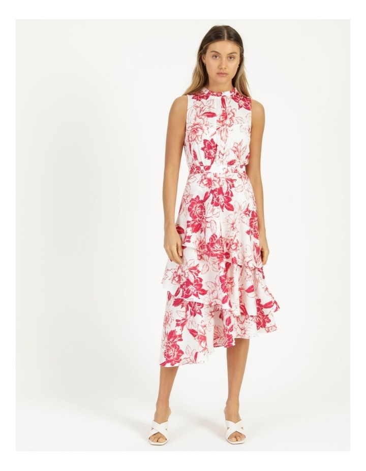 Tiered Frill Midi Bruised Poly Dress image 1