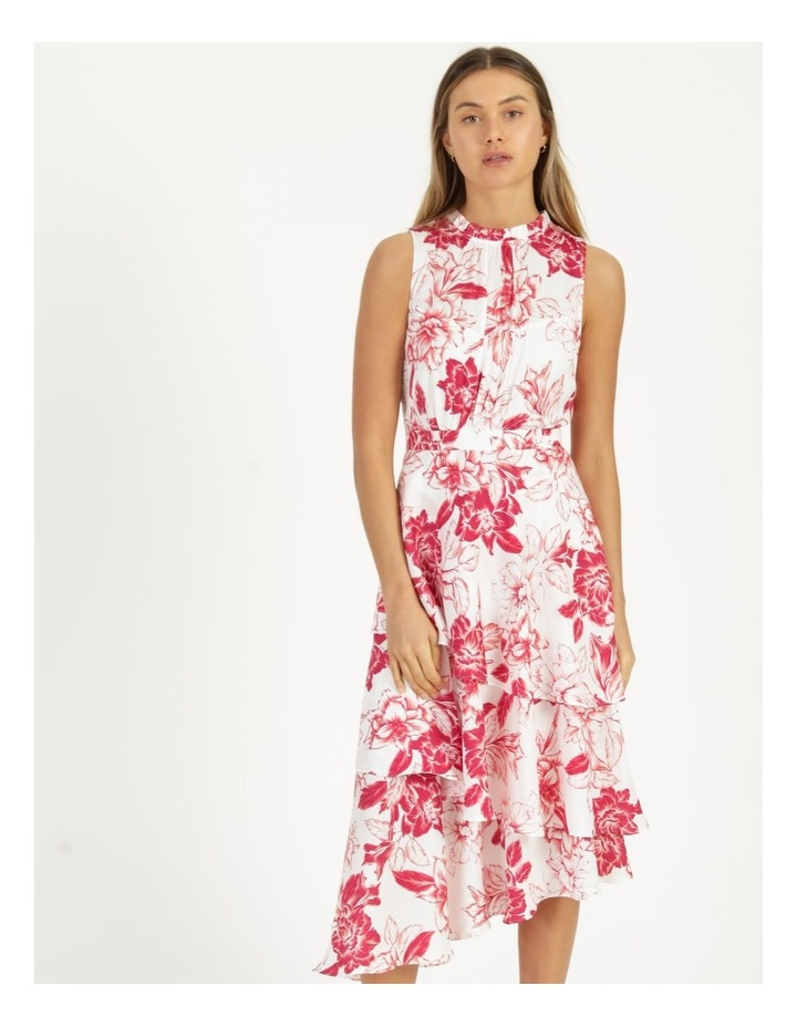 Tiered Frill Midi Bruised Poly Dress image 2