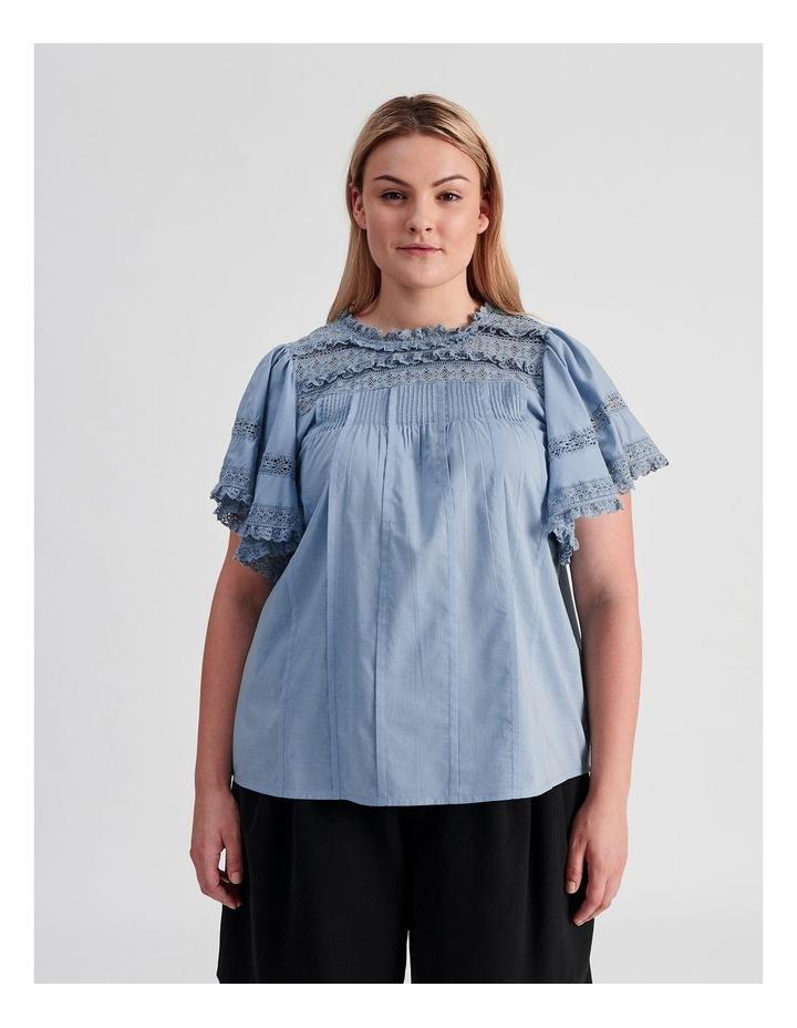 Flutter Sleeve Lace Trim Top image 1