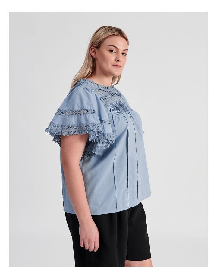 Flutter Sleeve Lace Trim Top image 3