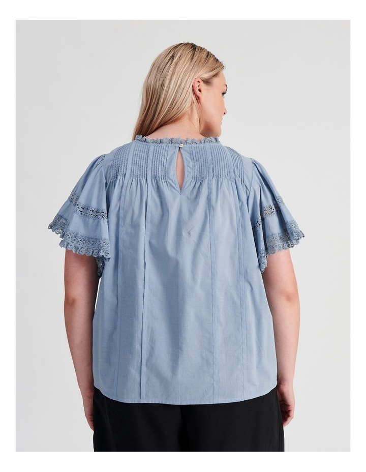 Flutter Sleeve Lace Trim Top image 4