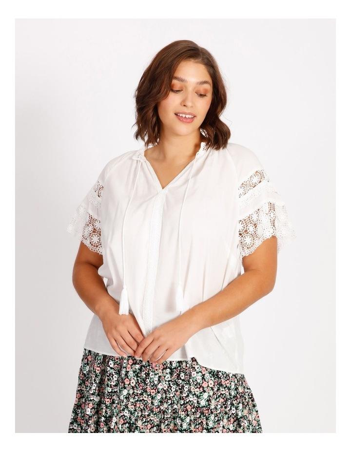 Lace Sleeve Tassel Tie Blouse image 1