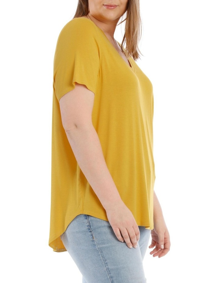 Vee Neck Tee With Curved Hem image 2