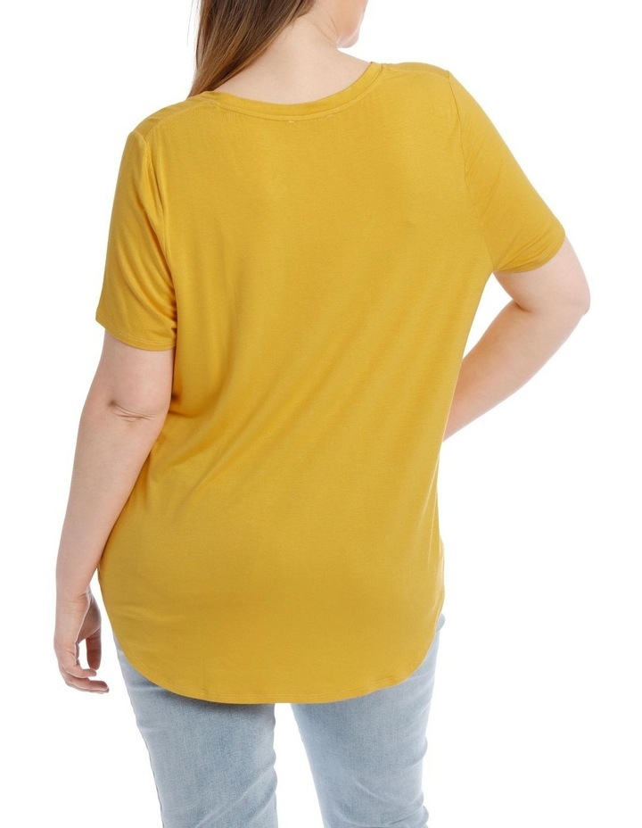 Vee Neck Tee With Curved Hem image 3