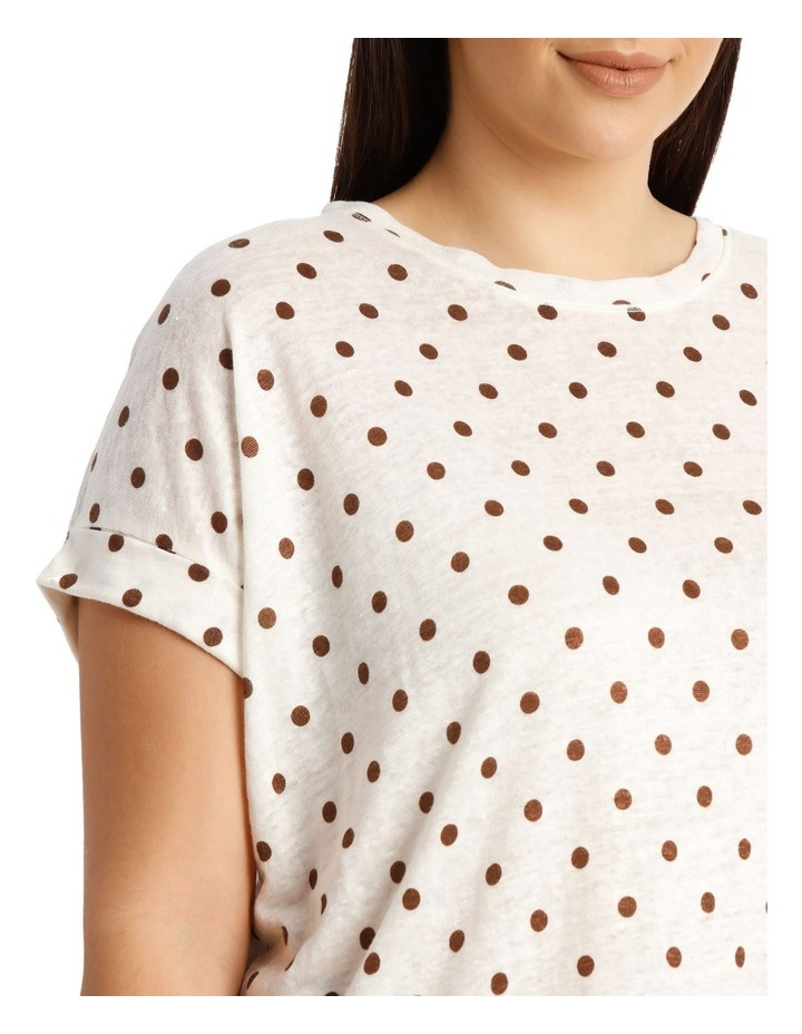 Linen Tee With Scoop Neck And Cuff Sleeve Print image 4