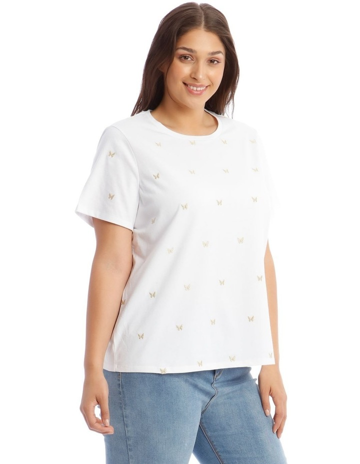Short-Sleeve T-Shirt with Embroidered Butterfly Detail image 2