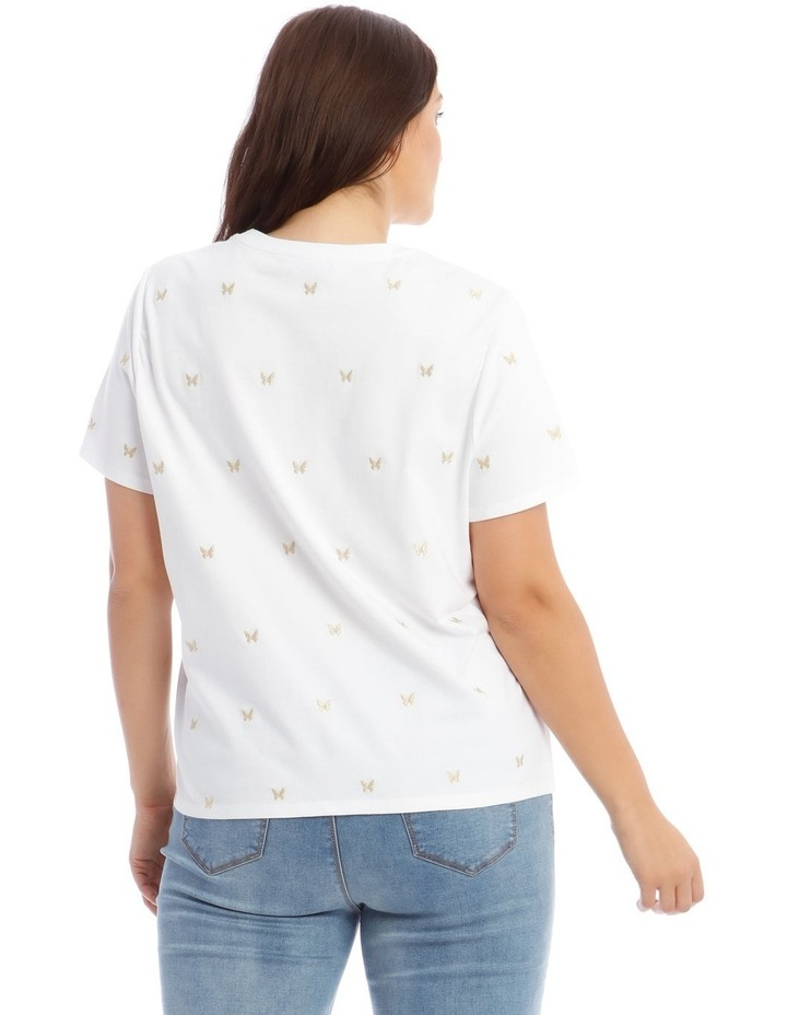 Short-Sleeve T-Shirt with Embroidered Butterfly Detail image 3