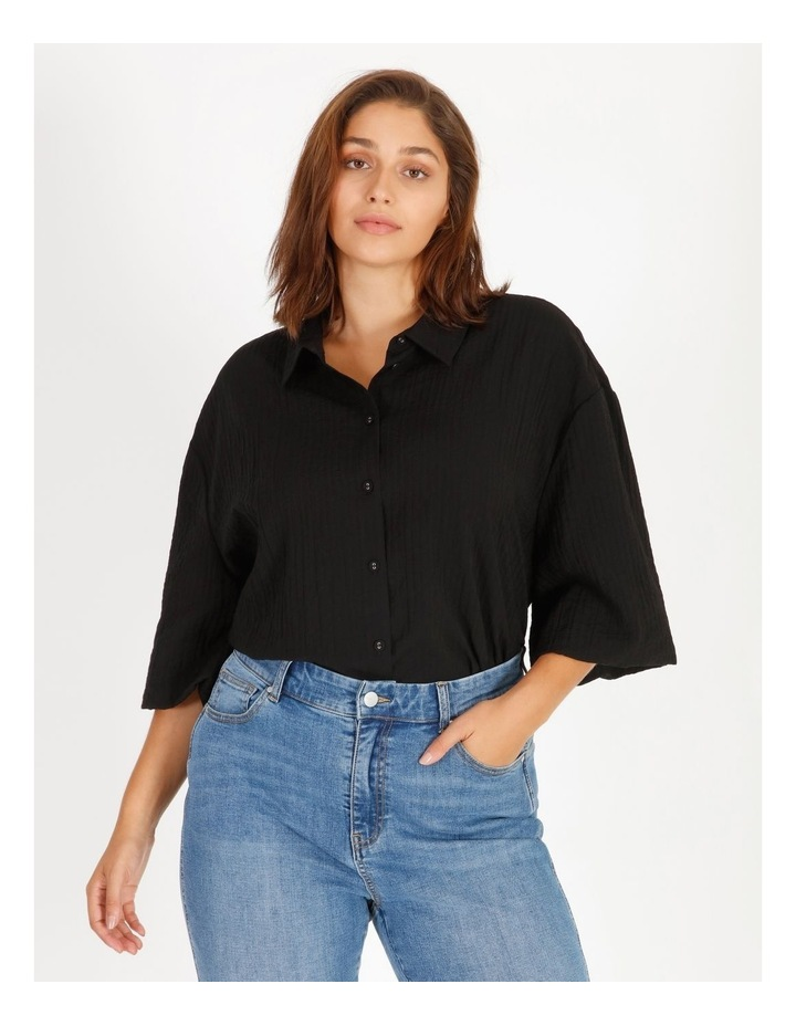 Textured Bubble Sleeve Shirt image 1