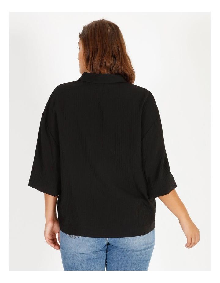 Textured Bubble Sleeve Shirt image 4