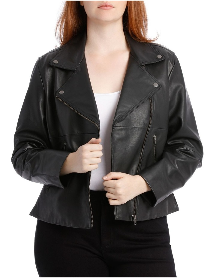 Leather Jacket with Zip and Pockets with Leather Tassels image 1