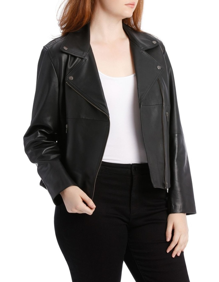 Leather Jacket with Zip and Pockets with Leather Tassels image 2