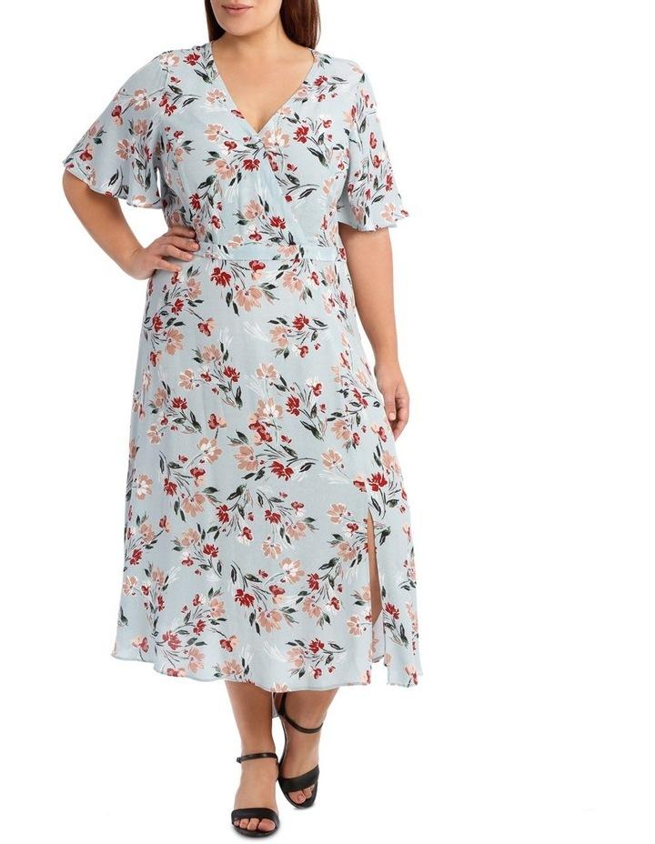 Mock Wrap Dress With Spilit image 1