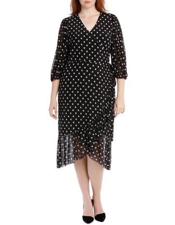 e74d8155b16 Piper 16-22 Dress Spot Mesh Mock Wrap