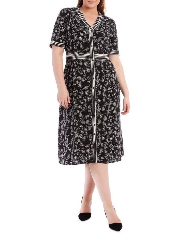 Spliced Button Thru Short Sleeve Dress image 1