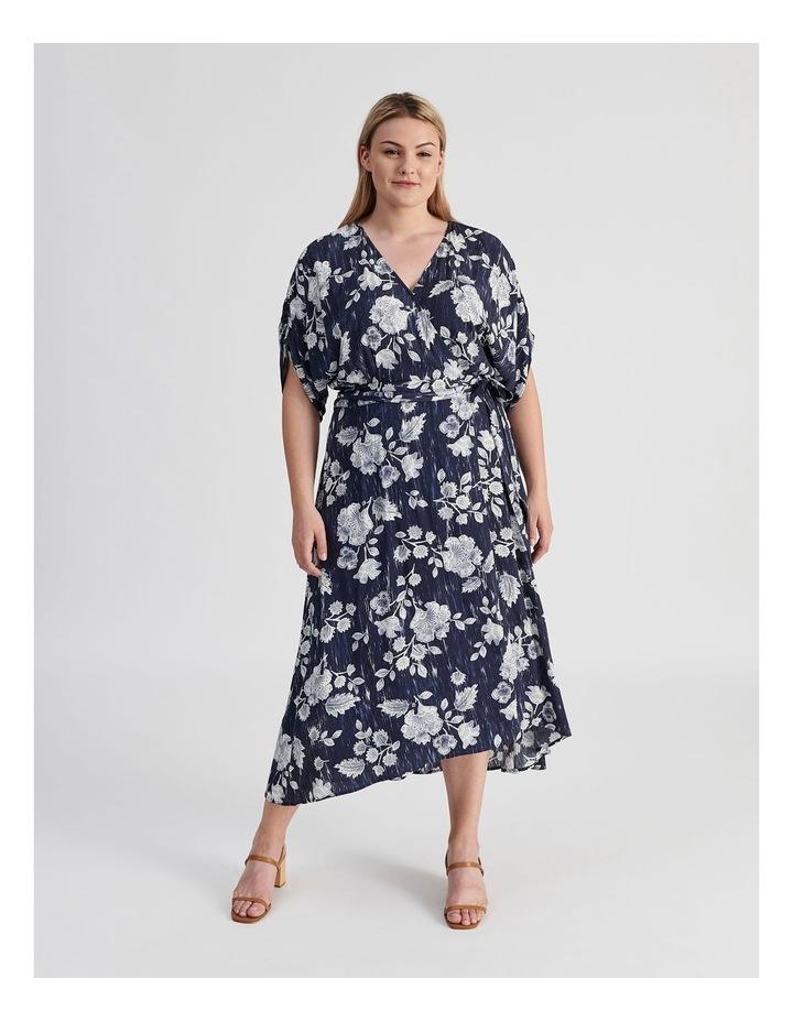 Ruched Short Sleeve Wrap Dress Leafy Floral Print image 1