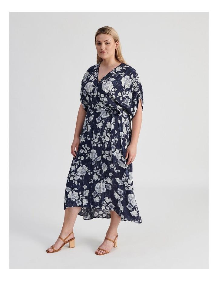 Ruched Short Sleeve Wrap Dress Leafy Floral Print image 2