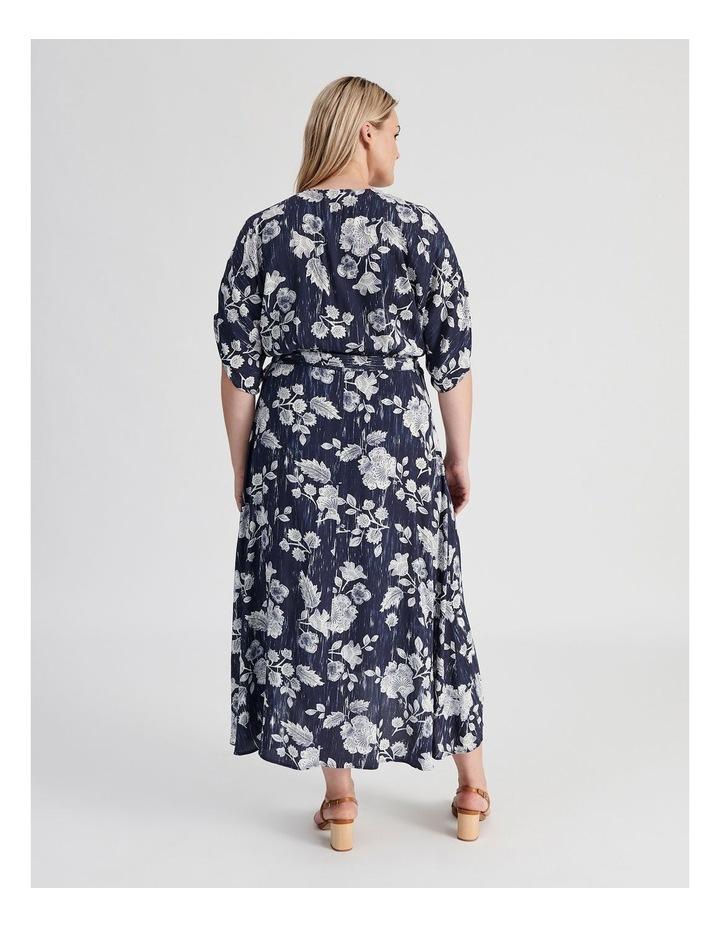 Ruched Short Sleeve Wrap Dress Leafy Floral Print image 3